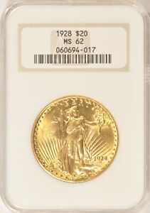 1928 $20 SAINT GAUDENS GOLD DOUBLE EAGLE COIN NGC MS62 NO LINE FATTY HOLDER