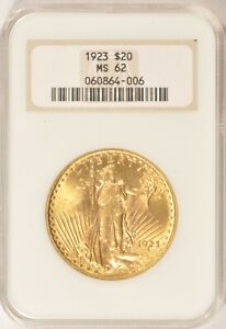 1923 $20 SAINT GAUDENS GOLD DOUBLE EAGLE COIN NGC MS62 NO LINE FATTY HOLDER