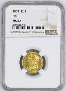 1808 CAPPED BUST $2.5 NGC MS 62