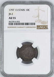 Click now to see the BUY IT NOW Price! 1797 DRAPED BUST 10C NGC AU 55