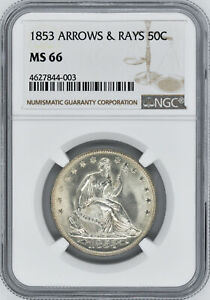 Click now to see the BUY IT NOW Price! 1853 LIBERTY SEATED 50C NGC MS 66