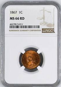 Click now to see the BUY IT NOW Price! 1867 INDIAN BRONZE 1C NGC MS 66 RD