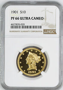 1901 LIBERTY HEAD $10 NGC PR 66 DCAM