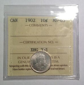 MS65 GEM 1902 10 CENT ICCS MS65