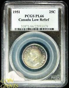CANADA LOW RELIEF TONED COIN 1951 PCGS PL 66  W/TRACKING     8902N