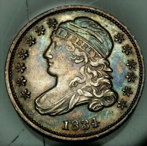 CAPPED LIBERTY BUST DIME TONED COIN 1834  FR JPN W/TRACKING  8892N