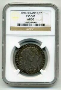 Click now to see the BUY IT NOW Price! 1/2 CROWN COIN 1689 NGC AU 50 FAST  FROM JAPAN WITH TRACKING 8936N