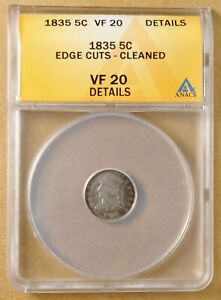 1835 CAPPED BUST HALF DIME ANACS VF 20 DETAILS