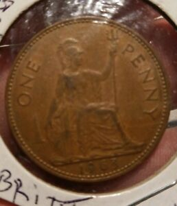 VINTAGE 1963  GREAT BRITAIN  ONE PENNY .