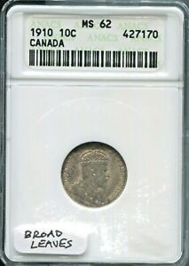 CANADA   FANTASTIC HISTORICAL SILVER 10 CENTS 1910 KM 10 ANACS GRADED MS 62