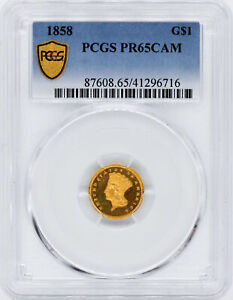Click now to see the BUY IT NOW Price! 1858 GOLD G$1 PCGS PR 65 CAM