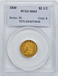 1830 CAPPED BUST $2.5 PCGS MS 63
