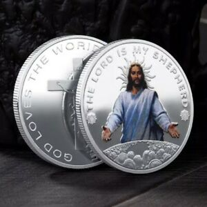 JESUS CHRIST   THE LORD IS MY SHEPHERD UNC SILVER PLATED COMMEMORATIVE 40MM COIN