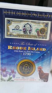 COLOURIZED  2.00 BILL WITH STATE OF RHODE ISLAND  WITH  INFORMATION  CARD