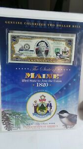 COLOURIZED  2.00 BILL WITH STATE OF MAINE  WITH  INFORMATION  CARD