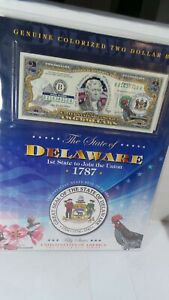 COLOURIZED  2.00 BILL WITH STATE OF  DELAWARE  WITH  INFORMATION  CARD