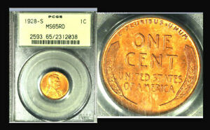 Click now to see the BUY IT NOW Price! 1928 S 1C  POP 40 MS65RD PCGS ONLY 21 FINER LINCOLN WHEAT CENT