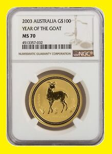 Click now to see the BUY IT NOW Price! 2003 CHINESE LUNAR YEAR OF THE GOAT NGC MS 70 AUSTRALIA 1 OZ 9999 GOLD