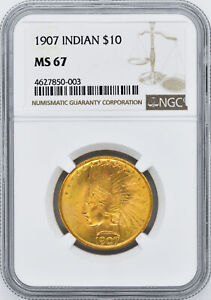 Click now to see the BUY IT NOW Price! 1907 INDIAN $10 NGC MS 67