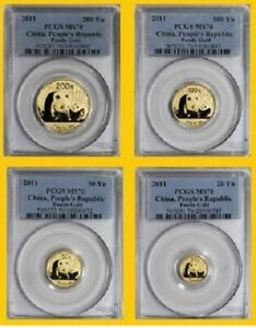 Click now to see the BUY IT NOW Price! 2011 CHINA PURE GOLD PANDA 4 COINS SET PCGS MS 70