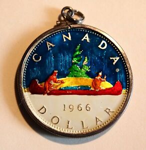 Click now to see the BUY IT NOW Price! 1966 CANADA DOLLAR COLOR ENAMEL CANOE TREE GREEN ELIZABETH CHARM PENDANT