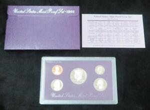 1993 PROOF SET   5 COINS   PROOF   WITH BOX AND COA   GREAT BIRTHDAY GIFT