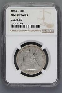 1863 S SEATED LIBERTY HALF DOLLAR NGC F DETAILS    DOUBLEJCOINS    6009 58