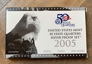 2005 US MINT 50 STATE QUARTERS SILVER PROOF SET BOX INSERT AND COA ONLY NO COINS
