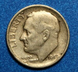 1949 S  SILVER ROOSEVELT DIME VF