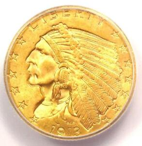 1913 INDIAN GOLD QUARTER EAGLE $2.50 COIN   CERTIFIED ICG MS65   $4 500 VALUE