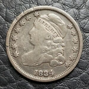 SILVER 1834 CAPPED BUST 10 CENTS DIME   FINE CONDITION