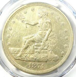 1874 CC TRADE SILVER DOLLAR T$1   PCGS XF DETAILS  EF     CARSON CITY COIN