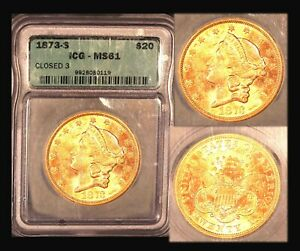 1873 S $20 CLOSED 3 ICG MS 61 LIBERTY DOUBLE EAGLE