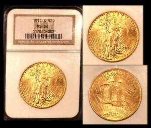 1914 S $20 NGC MS62 ST  GAUDENS DOUBLE EAGLE