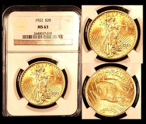 1922 $20 NGC MS63 ST  GAUDENS DOUBLE EAGLE