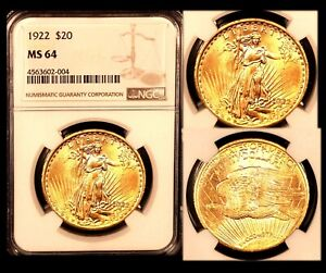 1922 $20 NGC MS64 ST  GAUDENS DOUBLE EAGLE