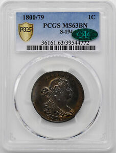 Click now to see the BUY IT NOW Price! 1800/79 DRAPED BUST 1C PCGS MS 63 BN