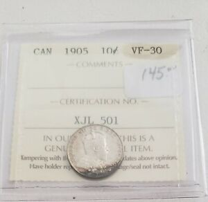 CAN COINS ICCS CERT 1905 10 CENT VF 30
