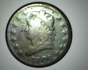 1808 CLASSIC HEAD LARGE CENT   NICE CHOCOLATE BROWN COLOR   FULL LEGENDS DATE
