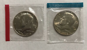 1976 P & D KENNEDY HALF DOLLAR 2 COIN LOT IN MINT CELLO