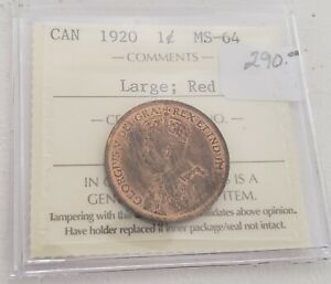 CAN COINS ICCS CERT 1920 LARGE 1 CENT MS 64 RED