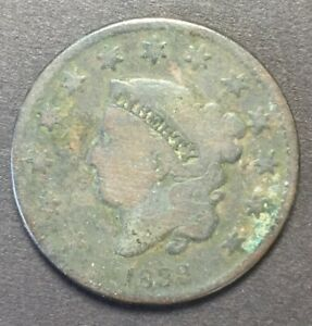1833 ONE CENT CORONET HEAD UNITED STATES LARGE CENT