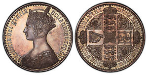 Click now to see the BUY IT NOW Price! GREAT BRITAIN VICTORIA 1847 AR GOTHIC CROWN. PCGS PR63 UN DECIMO ESC 2571