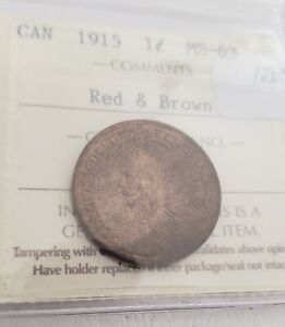 CAN COINS ICCS CERT 1915 LARGE 1 CENT MS 63 RED & BROWN
