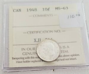 CAN COINS ICCS CERT 1948 10 CENT MS 63