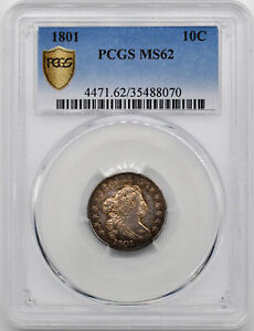 Click now to see the BUY IT NOW Price! 1801 DRAPED BUST 10C PCGS MS 62