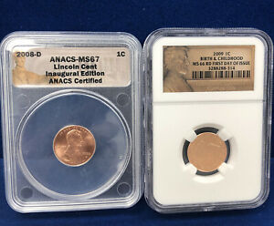 2008 D 2009 1C ONE CENT NGC FIRST DAY ISSUE BIRTH & CHILDHOOD INAUGURAL