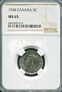 CANADA    SPECTACULAR GEORGE VI 5 CENTS 1948 KM 42 NGC GRADED MS 65