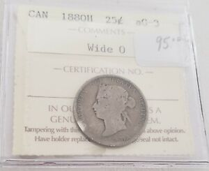 CAN COINS ICCS CERT 1880H 25 CENT AG 3 WIDE 0