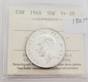 CAN COINS ICCS CERT 1948 50 CENT VF 20